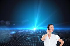 Stock Illustration of Composite image of cheerful smart call center agent working
