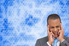 Composite image of stressed businessman putting his fingers on his temples Stock Illustration