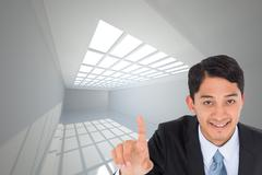 Composite image of smiling asian businessman pointing - stock illustration