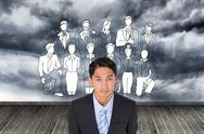 Stock Illustration of Composite image of serious asian businessman