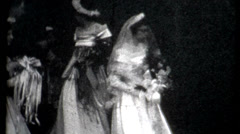 Black and white old wedding footage 1940s vintage fashion film historic Stock Footage