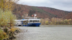 Danube River Cruise Ship Moored Stock Footage