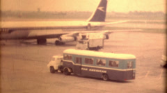 Travel getting bused Pan American airplane united kingdom 1950s traveling bus Stock Footage