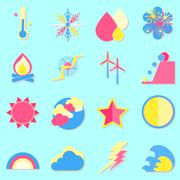 climate color icons with shadow - stock illustration
