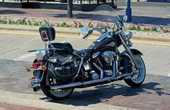 Classic american bike on the street Stock Photos