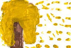 Lasten piirustus - keltainen puu ja putoavat lehdet Kuvituskuvat