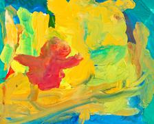 Children drawing - abstract painting background Stock Photos