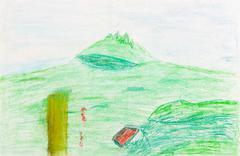 children drawing - green hill - stock photo