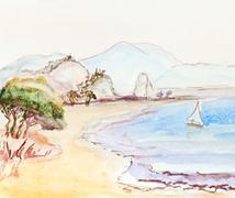 Italian landscape with sailing boat Stock Photos