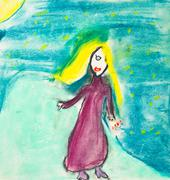 Children drawing - girl with long yellow hair Stock Illustration