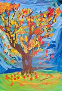 children drawing - autumn tree witn fall leaves - stock photo