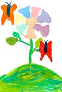 Children drawing - magic flower Stock Photos