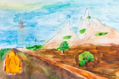 Children drawing - country road in mountains Stock Illustration