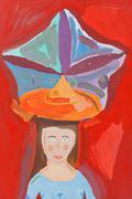 Children drawing - large decorative hat Stock Photos