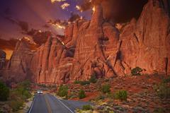 utah scenic road trip by car - stock photo