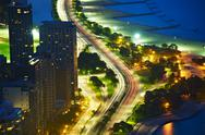 Stock Photo of lakeshore drive chicago at night