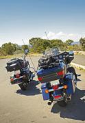 Traveling bikers quick stop Stock Photos
