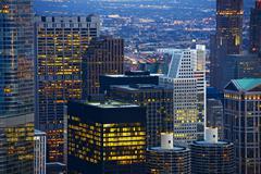 chicago skyline at dusk - stock photo