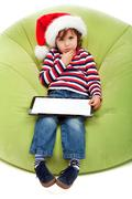 Little boy with tablet computer Stock Photos