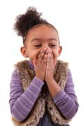 portrait of an african american little girl  - black people - stock photo