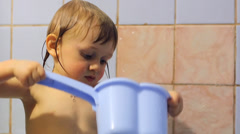 Child washes Stock Footage