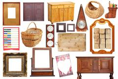 collage with antique wooden  objects - stock illustration