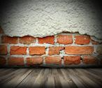 Stock Illustration of indoor abstract backdrop with cracked brick wall