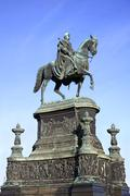 Equestrian statue of king john of saxony in Dresden - stock photo