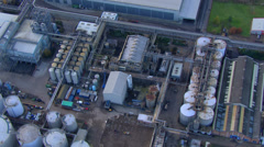 Aerial view of London docks and industrial area Stock Footage