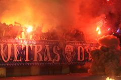 Fc dynamo kyiv ultras (ultra supporters) burn flares Stock Photos