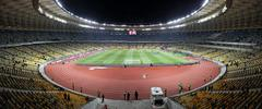 Panoramic view of Olympic stadium (NSC Olimpiysky) in Kyiv - stock photo
