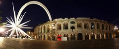 Ancient roman amphitheatre arena in Verona - stock illustration