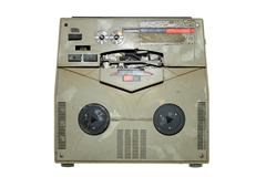old damaged analog recorder isolated - stock photo
