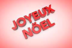 3d computer generated joyeux noel text - stock illustration