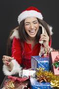funny phone call on christmas - stock photo