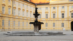 Melk Abbey Water Fountain Stock Footage