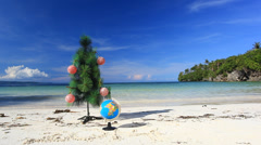 New year tree on tropical beach Stock Footage