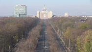 Stock Video Footage of Traffic in Bucharest, Romania, boulevard, late autumn, communist building