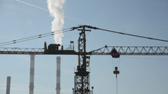 Stock Video Footage of Cranes in industrial zone