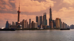 Shanghai time lapse,Lujiazui Financial Center,busy Huangpu River shipping. Stock Footage