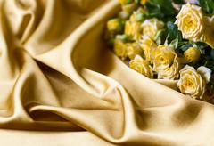 yellow roses on silk background - stock photo