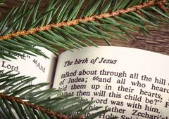 bible open to christmas passage - stock photo