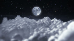 Flying through clouds at night. Starry sky with full moon. Loopable. - stock footage