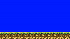 Old Arcade Retro Platform Game Ground Level on a Blue Screen Background Stock Footage