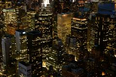 Skyline at night. nyc. new york city. skyscrapers. overlooking Stock Photos