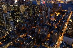 city at night. nyc. new york city. skyline skyscrapers. overlooking - stock photo