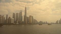 Pollution of Shanghai,serious haze,Lujiazui Financial Center. Stock Footage
