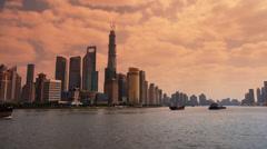 Panoramic of Shanghai sunset,Lujiazui Financial Center,busy Huangpu River ship. Stock Footage