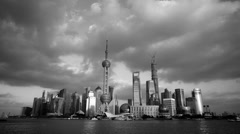 Black and white style of Shanghai skyline,world urban economic Centre building. Stock Footage