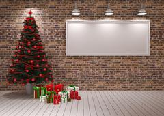 Cristmas Banner on wall - stock illustration
